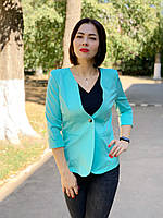 Женский приталенный пиджак, бирюзовый, арт 18, фото 1