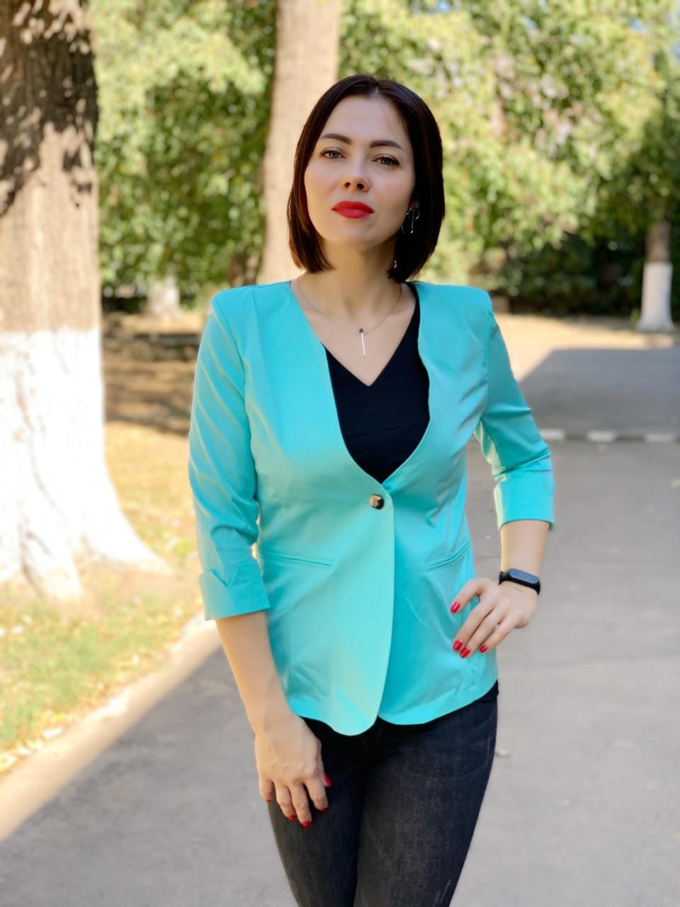 Женский приталенный пиджак, бирюзовый, арт 18