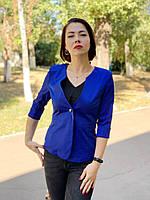Пиджак женский укороченный рукав, электрик / ярко-синий, арт 18