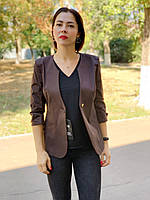 Стильный женский пиджак, шоколадного цвета, арт 18