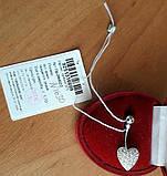 """Серебрянный пирсинг """"Сердце"""", инкрустация камнями, покрыто родием, фото 4"""