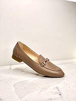 Стильные женские кожаные туфли - лоферы на низком удобном каблуке, осень - весна, производитель - Украина