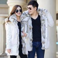 Зимовий пуховик куртка, парку для пар, модне товсте пальто з великим хутряним коміром, фото 1