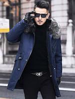Мужская куртка с меховым воротником чернобурки. мех кролика- подкладка меховая, фото 1