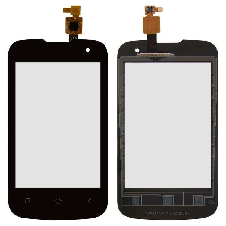 Сенсорный экран (тачскрин) Fly IQ430 Evoke (с отверстием камеры) чёрный ориг. к-во