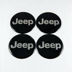 Наклейки на ковпачки Jeep чорні / хром лого 65 мм