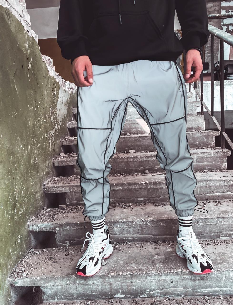Мужские спортивные штаны  рефлективная ( светоотражающая ) плащевка СММ U18