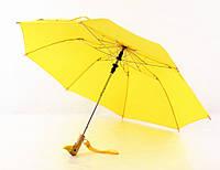 Зонт с оригинальной деревянной ручкой голова уточки, цвет желтый 8 спиц антишторм