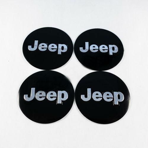 Наклейки на ковпачки Jeep чорні / хром лого 60 мм
