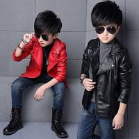Модная кожаная куртка для мальчика 2 вида весна , зима 2 цвета