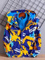 Куртка из 2-х частей для мальчиков весна и осень ветровка + толстовка бархат 2 цвета