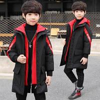 Детская одежда, хлопковая куртка удлиненая для мальчиков, новый толстый пуховик