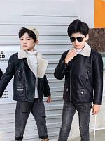 Детская куртка для мальчиков осень кожаная куртка с подкладкой бархат