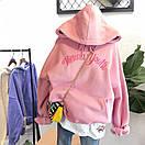 Женское теплое худи из трехнитки на флисе с вышитой надписью и капюшоном 68sv881, фото 5