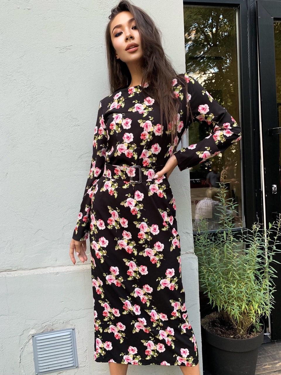 Прямое платье миди в цветочный принт с поясом на талии (р. единый 42-46) 60py1591