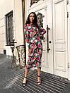 Прямое платье миди в цветочный принт с поясом на талии (р. единый 42-46) 60py1591, фото 5