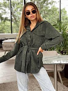 Женская удлиненная вельветовая рубашка свободная под пояс 22ru402