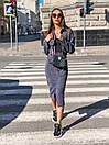 Юбочный костюм - двойка пиджак и юбка из микровельвета 36ks1373, фото 2
