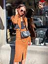 Юбочный костюм - двойка пиджак и юбка из микровельвета 36ks1373, фото 5