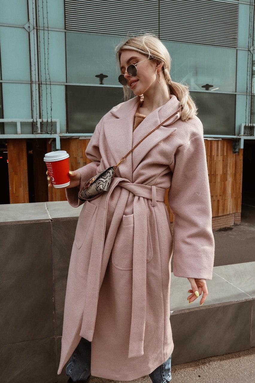 Женское Пальто оверсайз на запах с широким рукаво из шерсти и кашемира (р. 42-46) 60lt279
