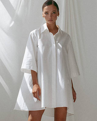 Асимметричное платье - рубашка свободного кроя с рукавом 3/4 60ty1589