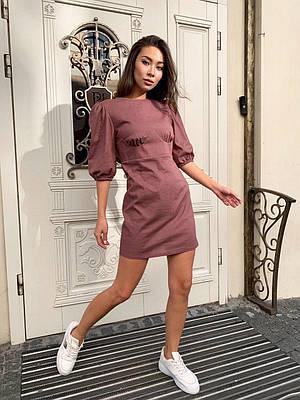 Льняное платье с рукавами фонариками и эффектом корсета 60ty1590