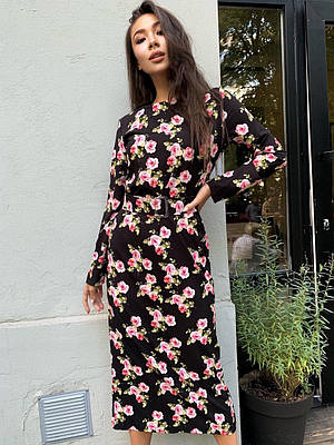 Прямое платье миди в цветочный принт с поясом на талии (р. единый 42-46) 60ty1591