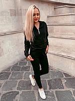 Женский спортивный костюм штаны и кофта на змеечке с карманом и капюшоном чёрный S 42 M 44 L 46, фото 1
