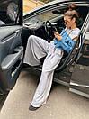 Женский костюм двойка с широкими брюками клеш и джинсовой кофтой с разрезами на плечах 71kos1365, фото 4