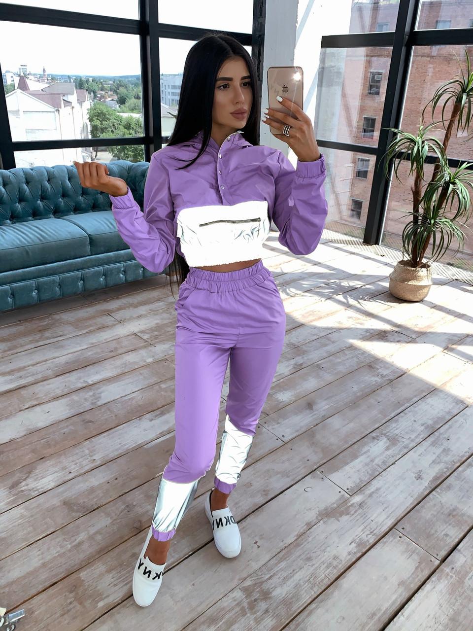 Женский спортивный костюм с укороченым худи и светоотражающими вставками 66spt1070Е