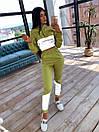 Женский спортивный костюм с укороченым худи и светоотражающими вставками 66spt1070Е, фото 4