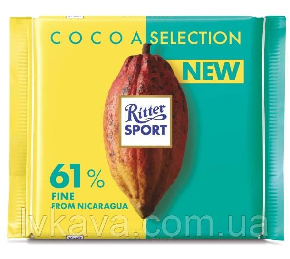 Черный шоколад  Ritter Sport 61 % какао из  Никарагуа , 100 гр