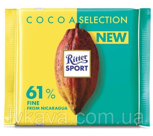 Черный шоколад  Ritter Sport 61 % какао из  Никарагуа , 100 гр, фото 2