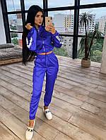 Женский спортивный костюм из шелка со светоотражающими лампасами и укороченным бомбером 6605mko64Е, фото 1