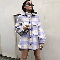 Женское полуЖенские пальто - рубашка в крупную клетку в лавандовом цвете 68mpa278, фото 1