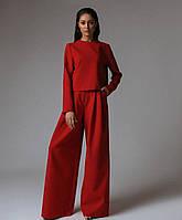 Женский брючный костюм с брюками клеш и кофтой прямой с длинным рукавом 60mko1364, фото 1