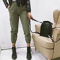 Коттоновые женские штаны джоггеры с карманами в трех расцветках р. универсальный 42-46 77mbl523, фото 1
