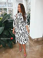 Черно - белое платье ииз софта длиной миди, с рукавами фонариками 3/4 (р. 42-44) 9mpl1592, фото 1