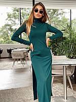 Прямое повседневное платье длинное с разрезами по бокам и высоким горлом (р. единый 42-44) 22mpl1594, фото 1