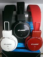Беспроводная накладная Bluetooth гарнитура ATLANFA AT-7611 блютуз+MP3 плеер+FM радио