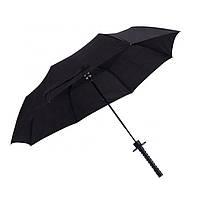 Мужской зонт черного цвета с оригинальной ручкой, имитирующей катану, 8 спиц, антишторм