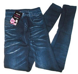 Леггинсы джинсовые на плотном меху с высокой посадкой 18055 размер 40-48