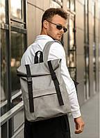 Рюкзак молодёжный, школьный серый Roll