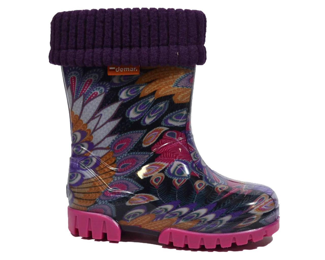 Яскраві гумові чоботи DEMAR для дівчинки 20-21р