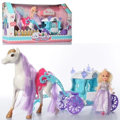 Карета   с лошадью 43см, кукла15см, в кор-ке, 45-27,5-12см