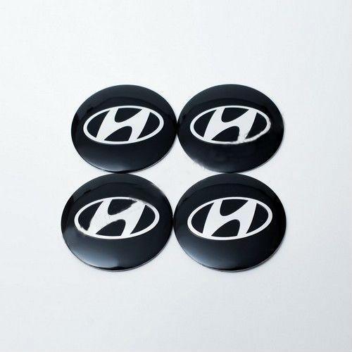 Наклейки на колпачки Hyundai черные/хром лого 56 мм