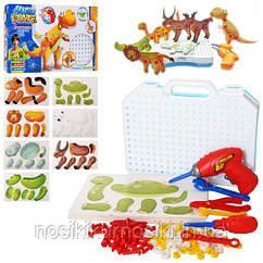 Болтовая мозаика конструктор с шуруповертом 127 элементов, 8 животных, чемодан для хранения 9910A
