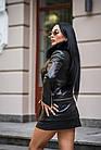 Куртка Кожаная Черная Съемный Низ 009ГК Батал, фото 4