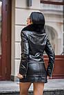 Куртка Кожаная Черная Съемный Низ 009ГК Батал, фото 6