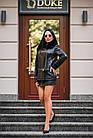 Куртка Кожаная Черная Съемный Низ 009ГК Батал, фото 2